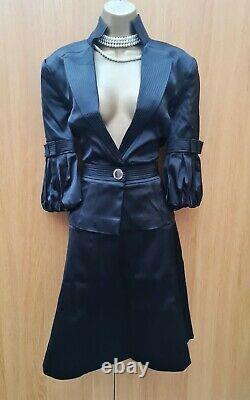 14 UK KAREN MILLEN BLACK SATIN SMART COCKTAIL FORMAL SKIRT & JACKET SUIT Outfit