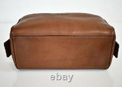 $195 NEW Authentic COACH Dark Brown Saddle CALF LEATHER Toiletry DOPP Kit