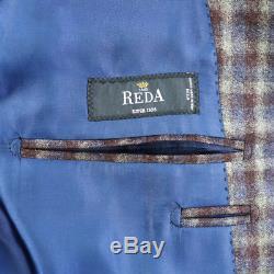 2Pc Outfit Lot NWT SARTORE Blue Plaid Reda Wool Blazer 50 40 + Brax Jeans 33