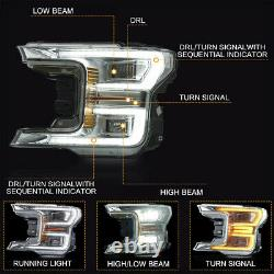 3-4Business Days arrive Chrome FULL LED Headlights Sequential for 18-20 F-150