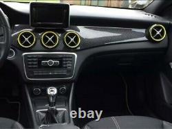 5x Cover bocche aria condizionata adesivo Mercedes Classe A Nero Bordo Giallo