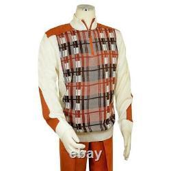 Bagazio Men's Cream / Rust Half-Zip Microsuede Sweater Outfit / Elbow Patches