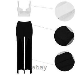 Bandage white bustier corset top black cut out pants trousers suit set outfit 2