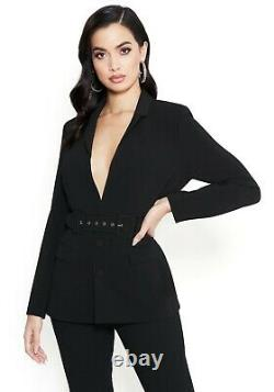 Bebe Suit Outfit 2 pieces Blazer & Legging Pants Belted Crepe Fitted Black NWT S