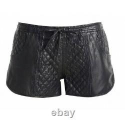 Black Cab Branded Runner Ladies Leather Shorts Sexy Outfit Size 6 UK XMAS SALE