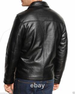 Black Leather Jacket Men Genuine Lambskin Leather Jacket Biker Motorcycle Outfit