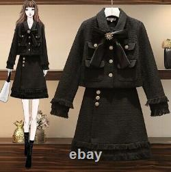 Black tweed fringed gold button skirt blazer jacket suit set outfit lux chic