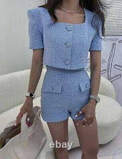 Blue cream chic classic tailored tweed twill shorts top blouse outfit set 2