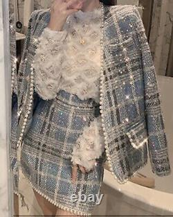 Blue tweed plaid sequin sparkle pearl skirt blazer jacket suit outfit set 2 pcs