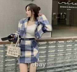 Blue white plaid check wool cashmere crop jacket blazer skirt suit set outfit