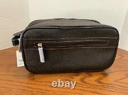 Brooks Brothers Travel Kit Shaving Bag Toiletry Case Dopp Kit Brown Leather