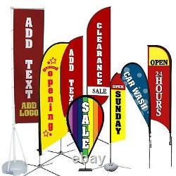 CUSTOM DOUBLE SIDED Business BLADE SHAPE Flag KIT with 11, 13, 14, 18' TALL