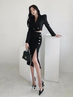Chic black puff short cropped jacket blazer slit skirt gold suit outfit set 2