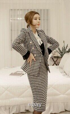 Chic black white houndstooth tweed pencil skirt jacket blazer suit set outfit