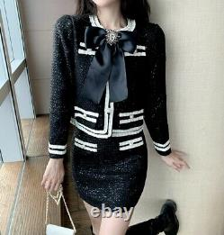 Chic black white shimmer tweed skirt jacket blazer suit set outfit baroque