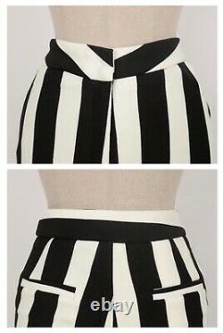 Chic black white stripe tailored pants trousers blazer jacket suit outfit set