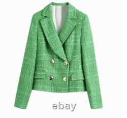 Chic bright green plaid tweed shorts blazer jacket set gold suit set outfit 2 pc
