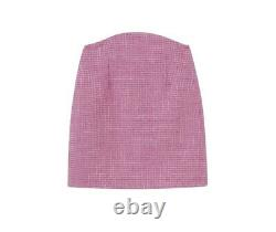 Chic candy pink tweed bra bustier top skirt jacket blazer 3 pc suit set outfit