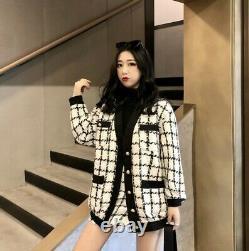 Chic classic black white check plaid jacket blazer skirt gold suit set outfit 2