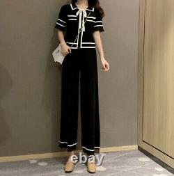 Chic classic black white knit trousers pants top sweater jacket suit set outfit