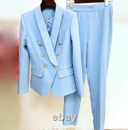 Chic classic double trousers pants jacket blazer suit set outfit various color