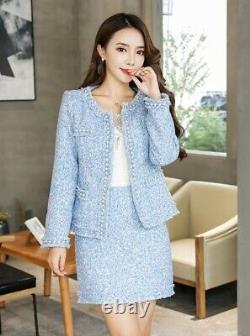 Chic classic pink blue pearl tweed skirt jacket blazer suit set outfit 2