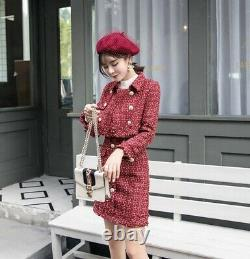 Chic classic red gold tweed twill plaid skirt jacket blazer suit set outfit 2 pc