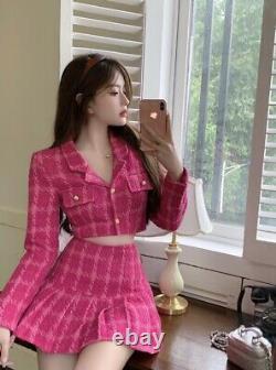 Chic hot pink plaid tweed gold skirt short crop jacket blazer suit set outfit