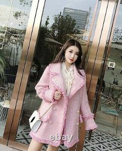 Chic lux cashmere pearl pink tweed skirt blazer jacket coat suit outfit set 2