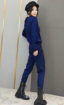 Chic shimmer blue navy gold knit tracksuit sweater trousers pants set outfit 2