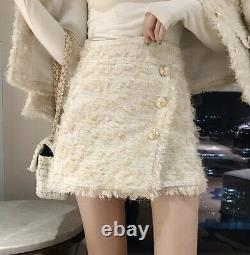 Chic tweed cream beige gold plaid pearl skirt blazer jacket suit outfit set