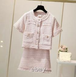 Chic tweed gold short sleeve jacket blazer skirt suit set outfit white blue pink