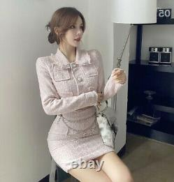 Chic tweed ice blue pink skirt short crop blazer jacket pearl suit outfit set