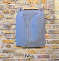 Christian Lacroix Women Grey & Pink Pinstripes Blazer Skirt Suit Outfit UK 12-14