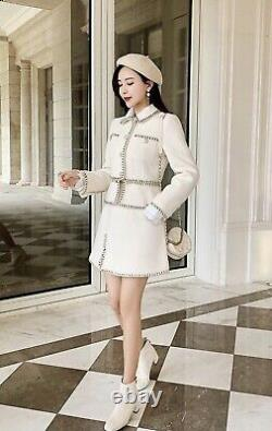 Classic chic white black gold pearl tweed skirt blazer jacket suit outfit set