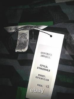 Diane Von Furstenberg Blk Grn Gry & Wht Kit Kat Club Print S12 Skirt Set NWT