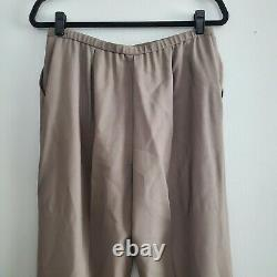 EILEEN FISHER Taupe Wool 2-Piece Pant Set Outfit V-Neck EUC Women's Size Medium