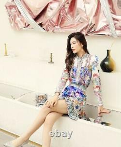 Elegant chic runway baroque pearl gold shirt blouse skirt set outfit suit custom