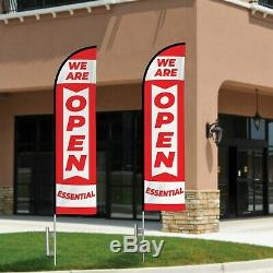 Essential Business Open Flag Kit Heavy Duty 12' Feather Flag Kit Essential Open
