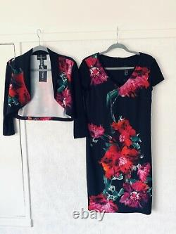 Frank Lyman Multi Colour Floral 2 Piece Outfit Bolero&dress Suit Size Uk 12