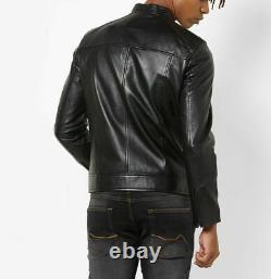 Genuine Leather Jacket Men Biker Motorcycle Real Lambskin Leather Black Outfit