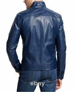 Genuine Leather Jacket for Men Biker Motorcycle Real Lambskin Blue Basic Outfit
