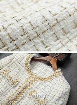 Gold pearl blue cream tailored tweed plaid skirt blazer jacket outfit suit set