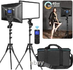 IVISII 2 Pack Dimmable Bi-color 480 LED Video Light Photography Lighting Kit