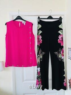 JOSEPH RIBKOFF 2 Piece Outfit Uk Size 8-10/ Pink Top & Floral Palazzo Trousers