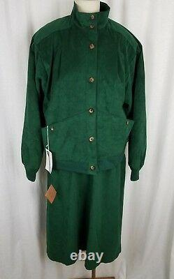 Jessica Grey Skirt Bomber Jacket Outfit Set Suit Womens Vegan Suede Womens 18