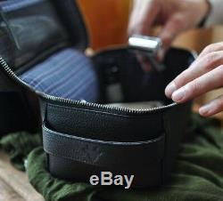 Kiko 307 Mens Black Dopp Kit Leather Toiletries Bag Travel Work Business Pouch