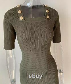 Knit Bandage Bodycon Army Green Mini Dress With Gold Buttons Elegant Outfit