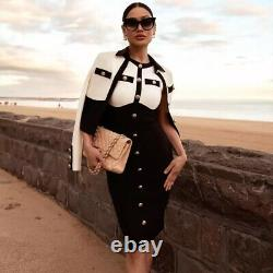 Knit Bandage Bodycon Black Midi Dress With Gold Buttons Elegant Outfit
