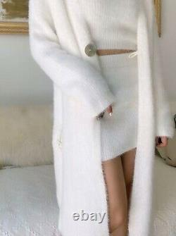 Knit mohair style white skirt tank top cardigan jacket suit outfit set 3 pcs